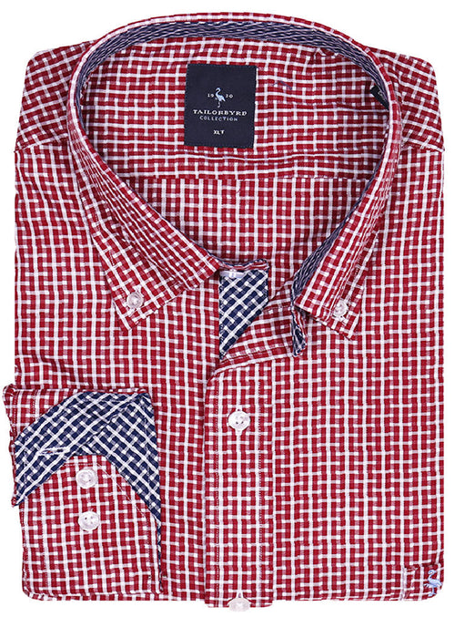 Red and White Big and Tall Button-Down Shirt