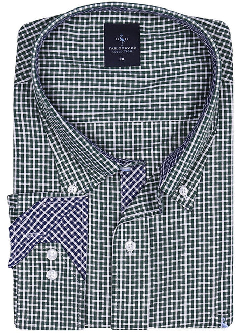 Green and White Big and Tall Button-Down Shirt